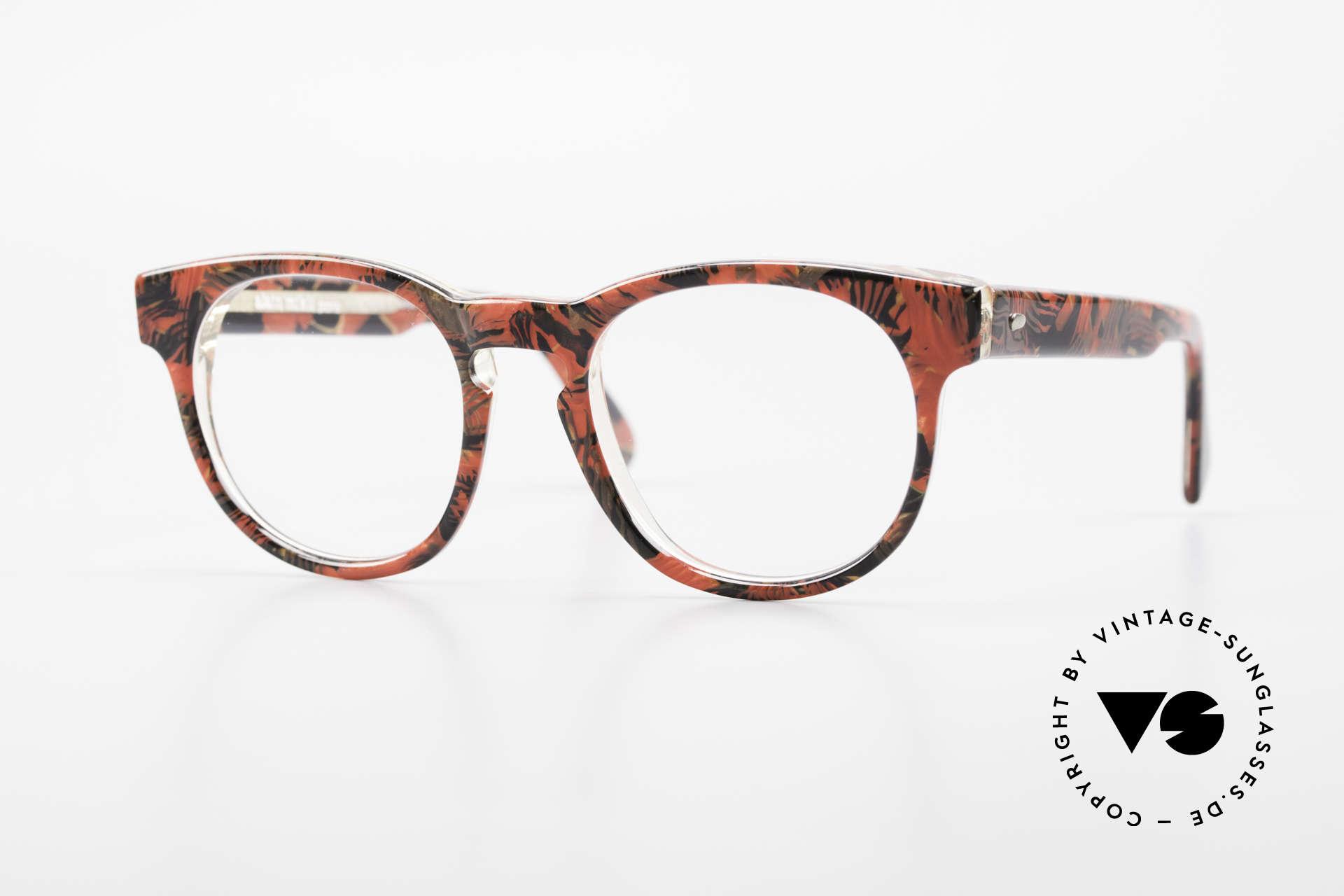 Alain Mikli 903 / 687 Gemusterte 80er Panto Brille, zeitlose Alain MIKLI Paris Designer-Brillenfassung, Passend für Herren und Damen