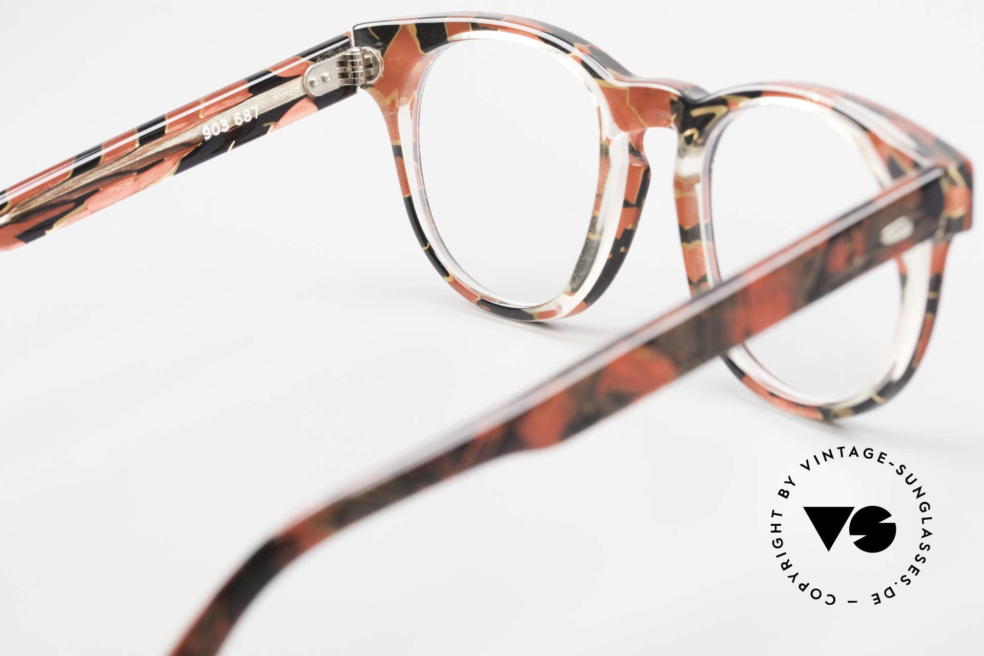 Alain Mikli 903 / 687 Gemusterte 80er Panto Brille, Größe: small, Passend für Herren und Damen