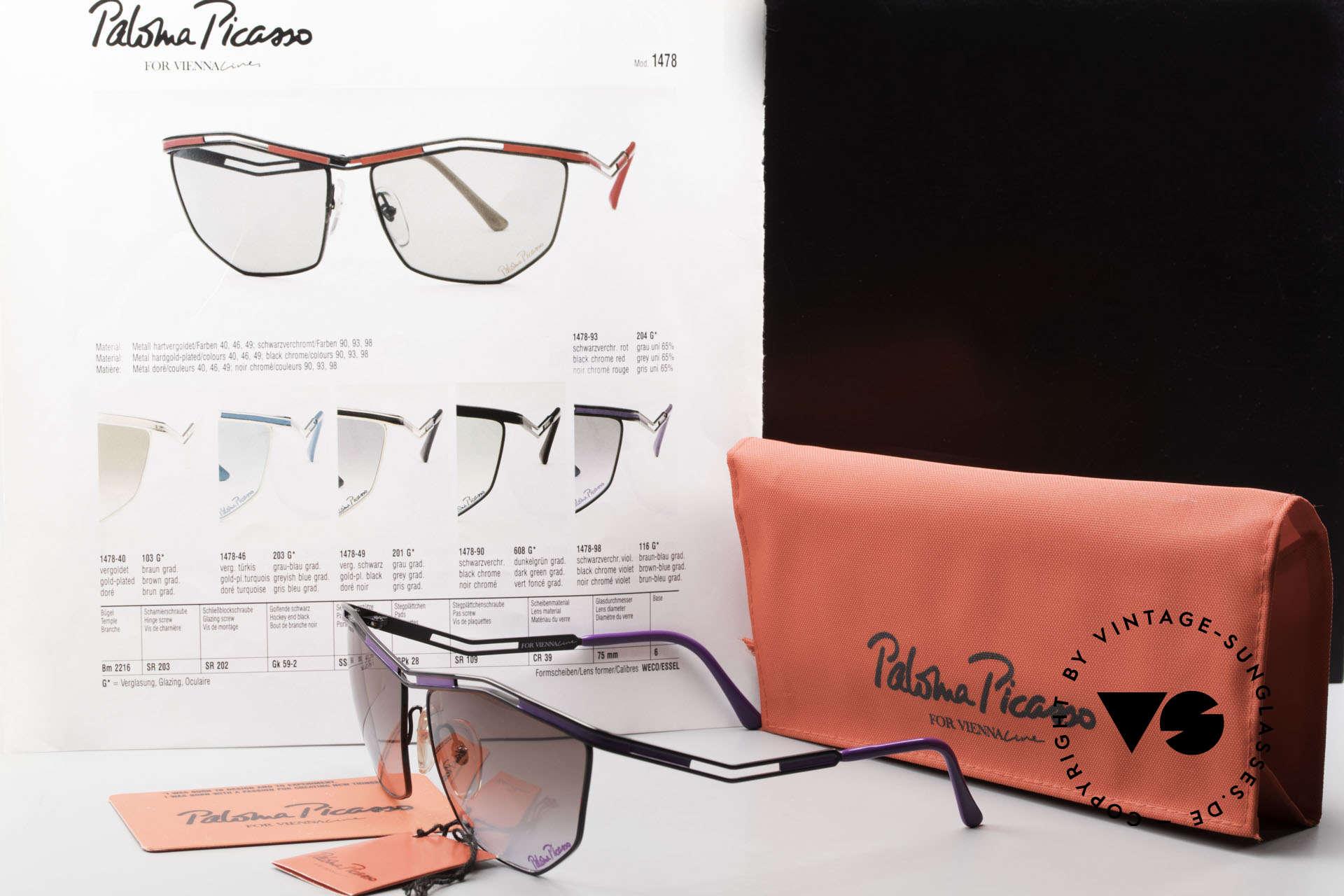 Paloma Picasso 1478 Rare 90er Damen Sonnenbrille, Größe: large, Passend für Damen