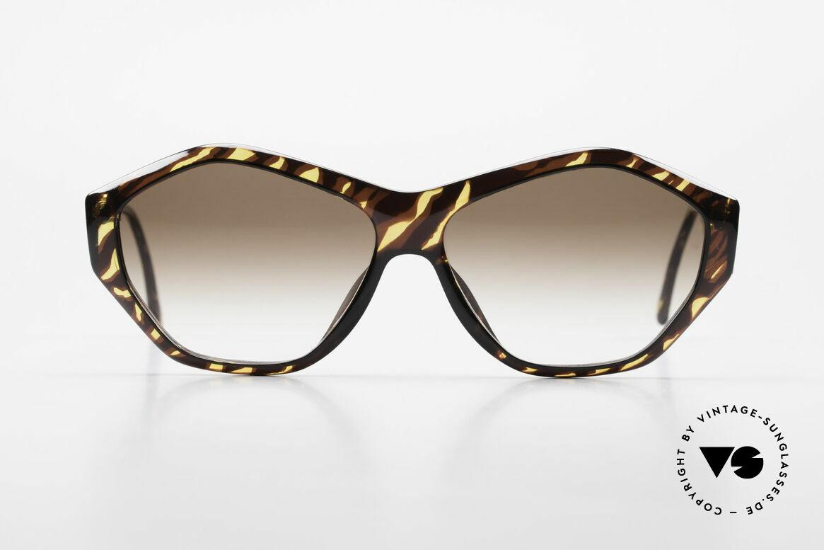 Paloma Picasso 1463 90er Optyl Sonnenbrille Damen, spektakuläre Form mit temperamentvollen Muster, Passend für Damen