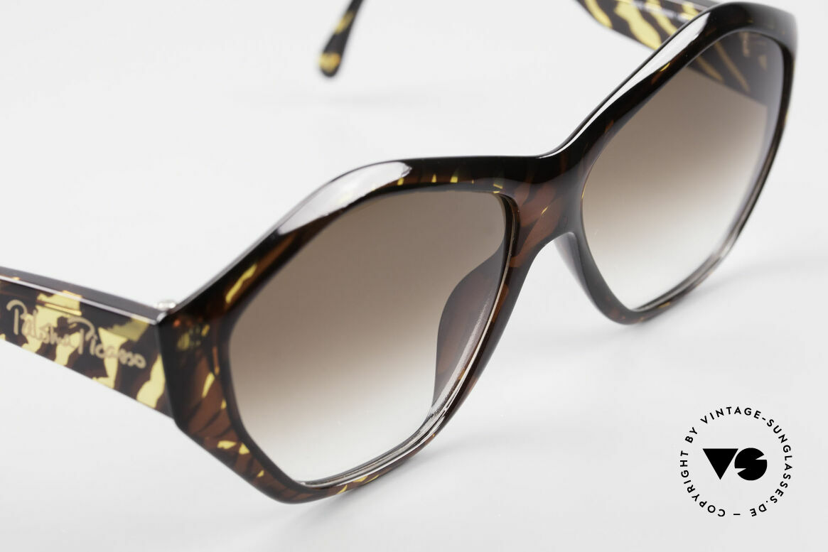 Paloma Picasso 1463 90er Optyl Sonnenbrille Damen, das Etui kann auch als Geldbörse benutzt werden, Passend für Damen