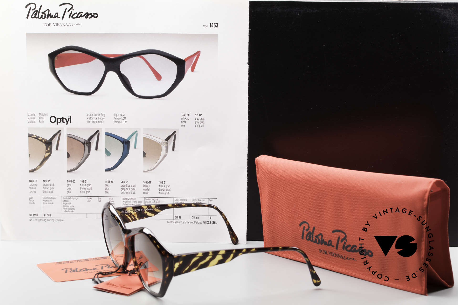 Paloma Picasso 1463 90er Optyl Sonnenbrille Damen, Größe: medium, Passend für Damen