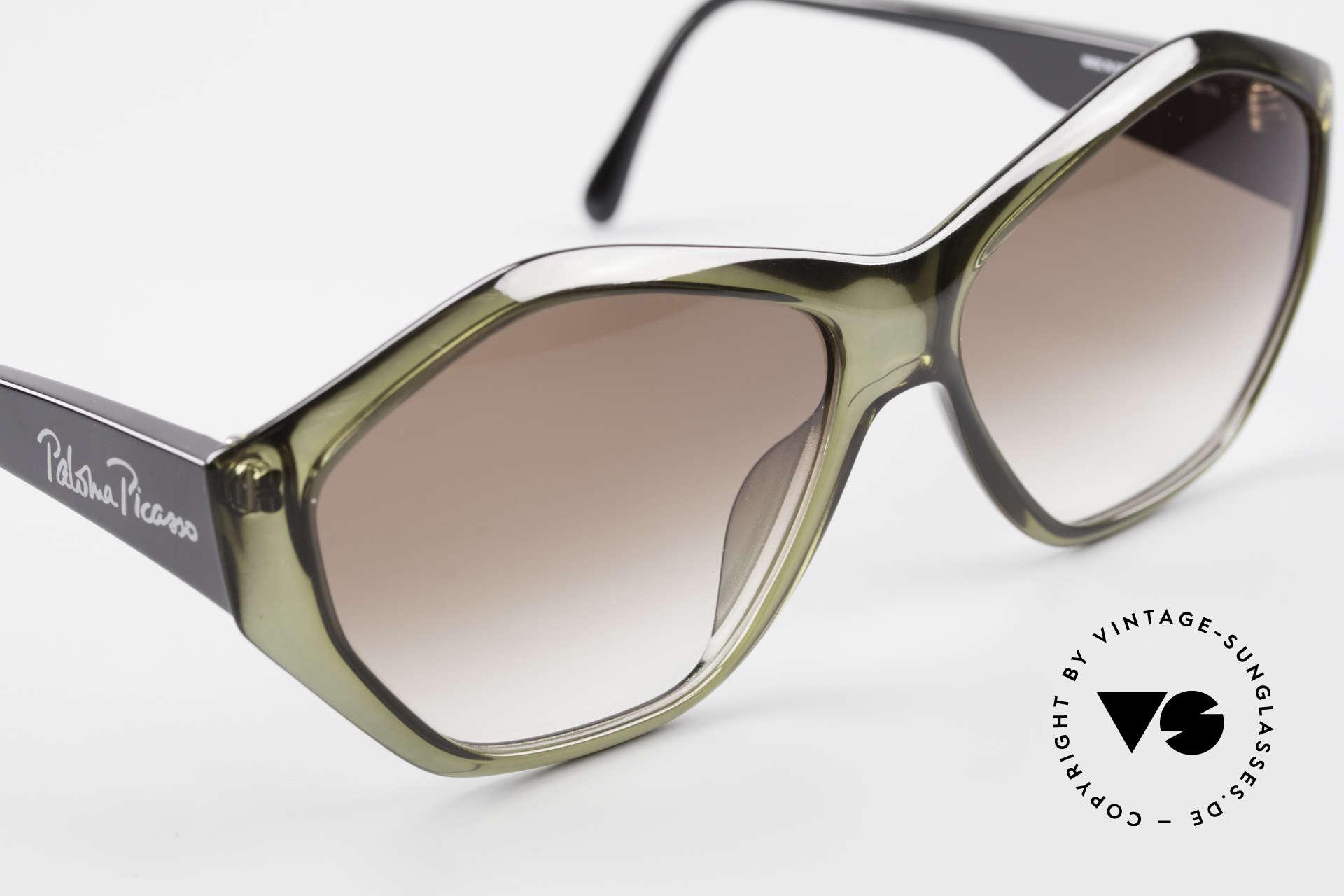 Paloma Picasso 1463 90er Optyl Damen Sonnenbrille, das Etui kann auch als Geldbörse benutzt werden, Passend für Damen