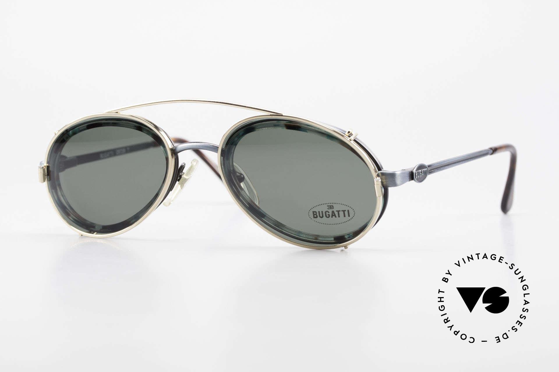 Bugatti 05728T 90er Herrenbrille Sonnen Clip, außergewöhnliche Bugatti vintage Designer-Fassung, Passend für Herren