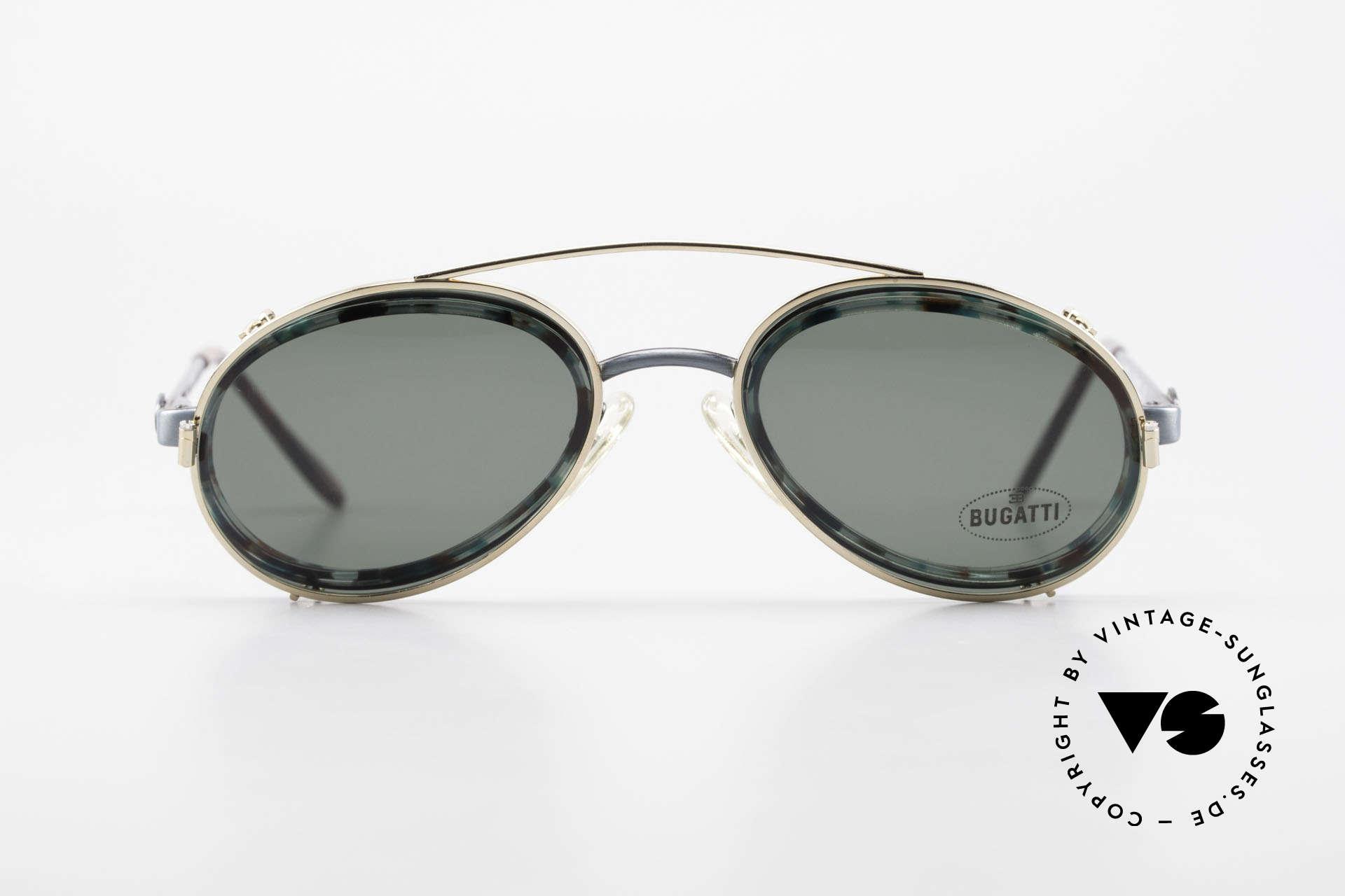 Bugatti 05728T 90er Herrenbrille Sonnen Clip, altes 90er Original mit interessantem Rahmenmuster, Passend für Herren