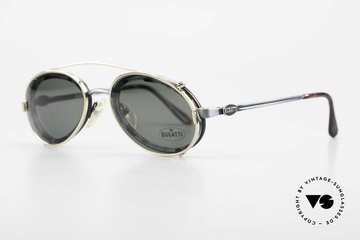 Bugatti 05728T 90er Herrenbrille Sonnen Clip, flexible Federscharniere und allgemeine Top-Qualität, Passend für Herren