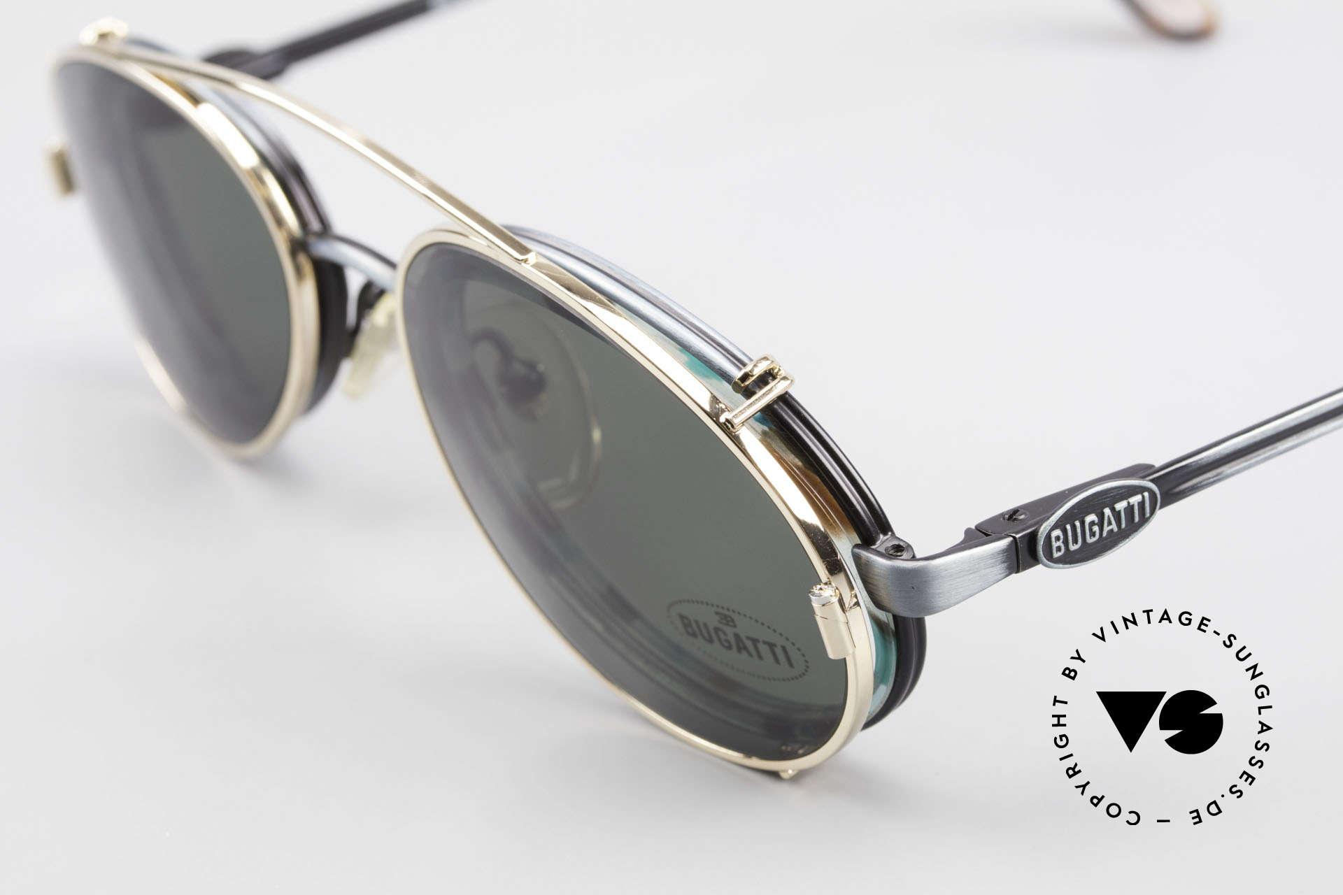 Bugatti 05728T 90er Herrenbrille Sonnen Clip, ungetragen (wie alle unsere Bugatti-Brillen) mit Etui, Passend für Herren