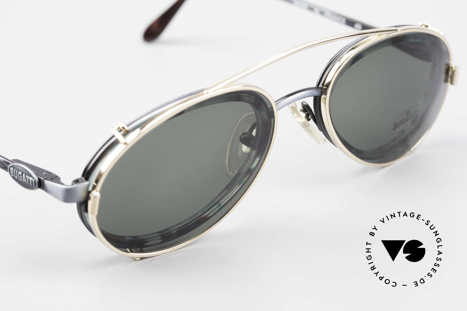 Bugatti 05728T 90er Herrenbrille Sonnen Clip, KEINE Retrobrillenfassung; ein 25 Jahre altes Original, Passend für Herren