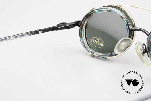 Bugatti 05728T 90er Herrenbrille Sonnen Clip, Fassung in türkis-metallic mit goldenem Sonnen-Clip, Passend für Herren