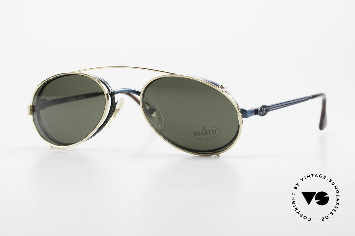 Bugatti 05728 Seltene 90er Fassung Mit Clip, sehr stilvolle Bugatti vintage Brille aus den 1990ern, Passend für Herren