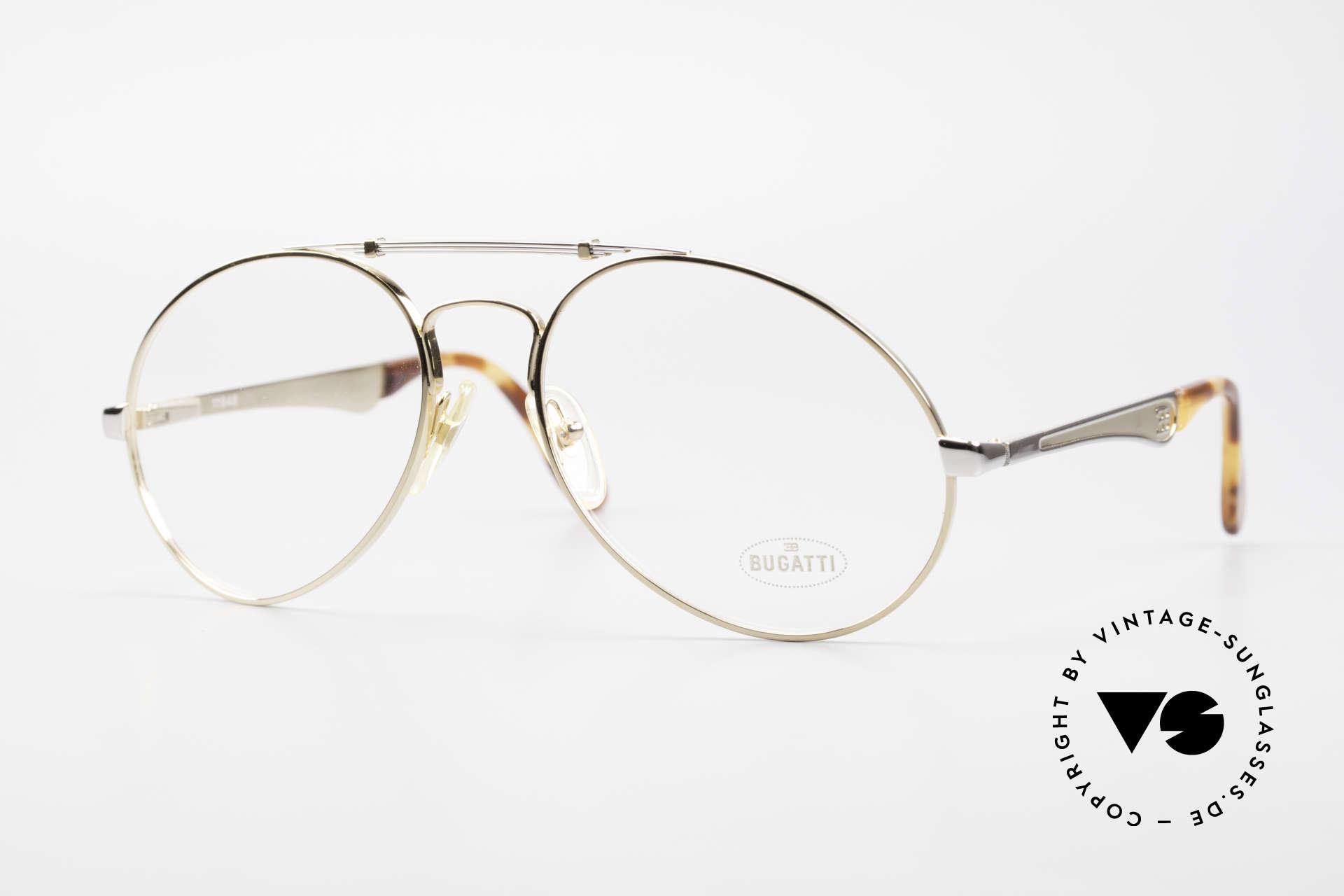 Bugatti 11948 Vergoldete Luxusbrille XL 80er, 80er vintage Herren-Brillenfassung in Gr. 58/20, Passend für Herren