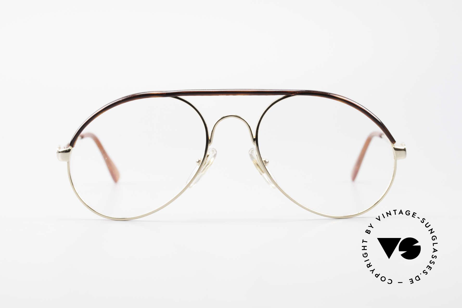 Bugatti 65986 80er Herren Brille Vergoldet, in typischer / legendärer Bugatti-Tropfenform, Passend für Herren
