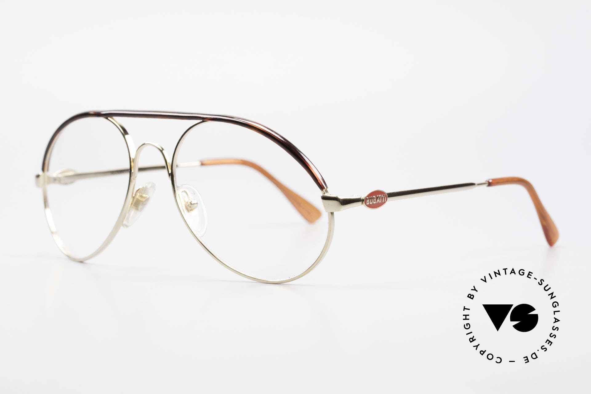Bugatti 65986 80er Herren Brille Vergoldet, Mod. 65986 mit Oberrand in Schildpatt-Optik, Passend für Herren