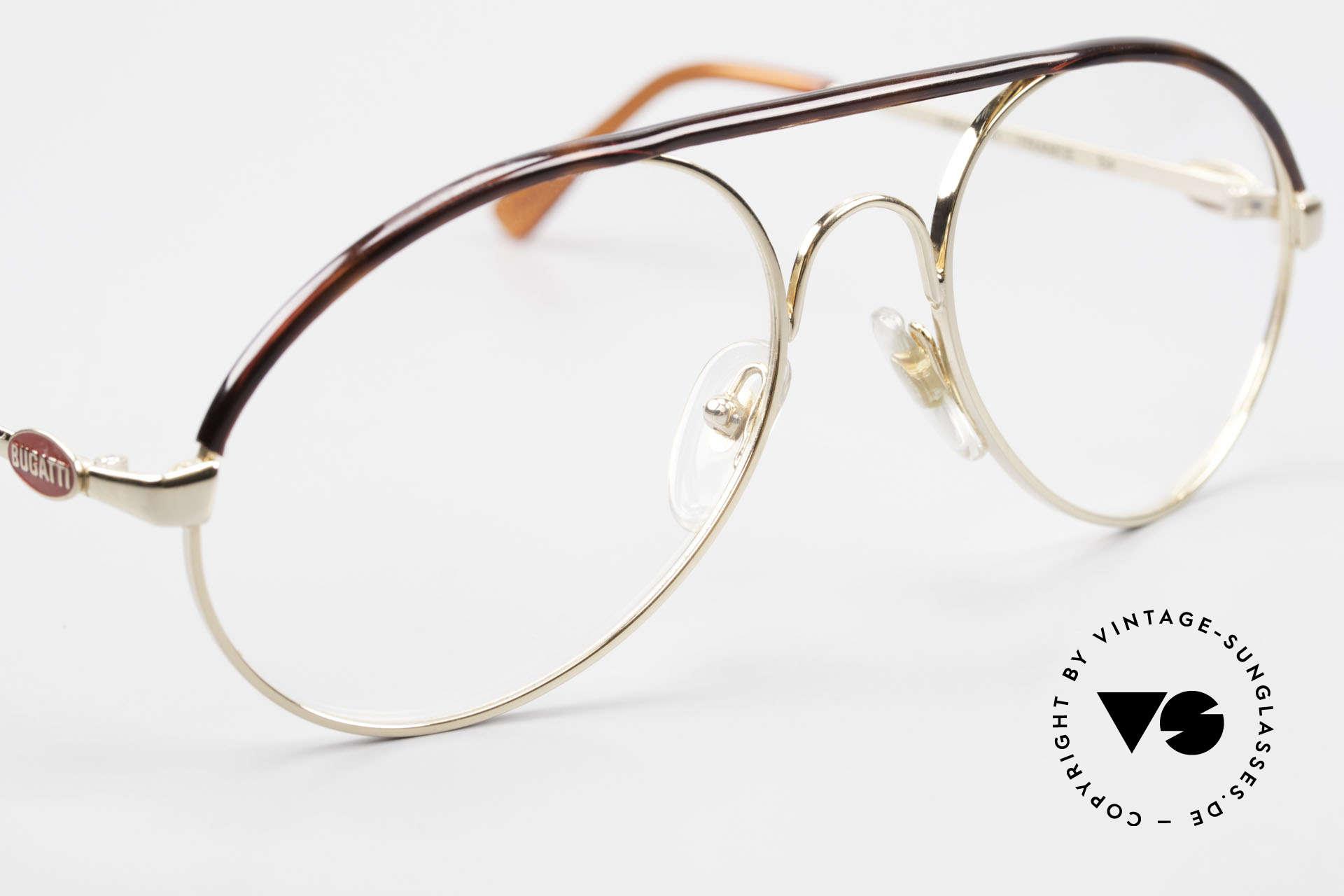 Bugatti 65986 80er Herren Brille Vergoldet, ungetragen (wie alle unsere vintage BUGATTIS), Passend für Herren