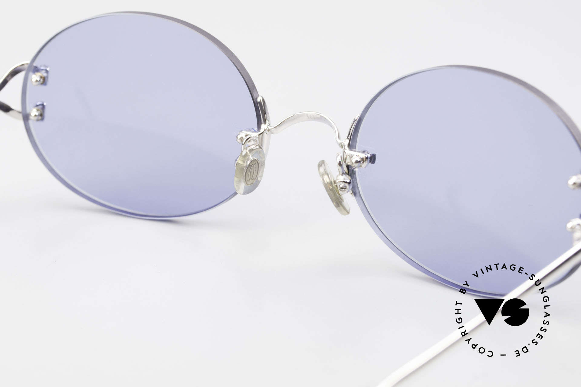 Cartier Rimless Giverny Ovale Randlose Luxusbrille, neue CR39 Gläser in blau-solid; für 100% UV Schutz, Passend für Herren und Damen
