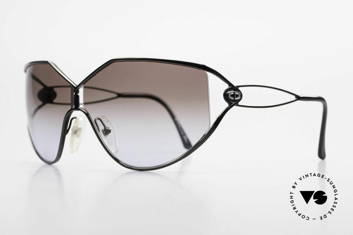 Christian Dior 2345 Damen Designersonnenbrille, die Front ist chrome-schwarz lackiert (très chic), Passend für Damen