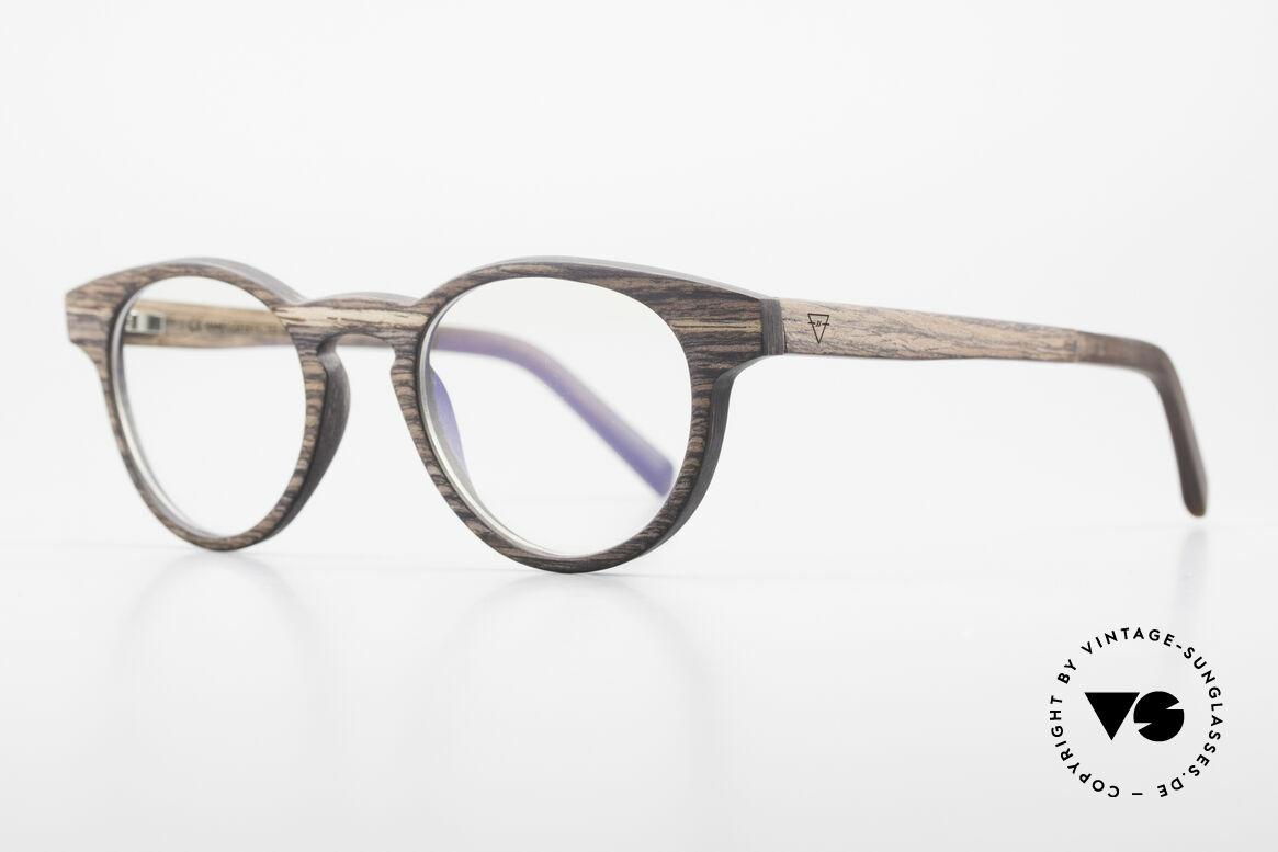 Kerbholz Friedrich Panto Holzbrille Kingwood, das Holz hat eine violette Farbe mit schwarzen Streifen, Passend für Herren und Damen