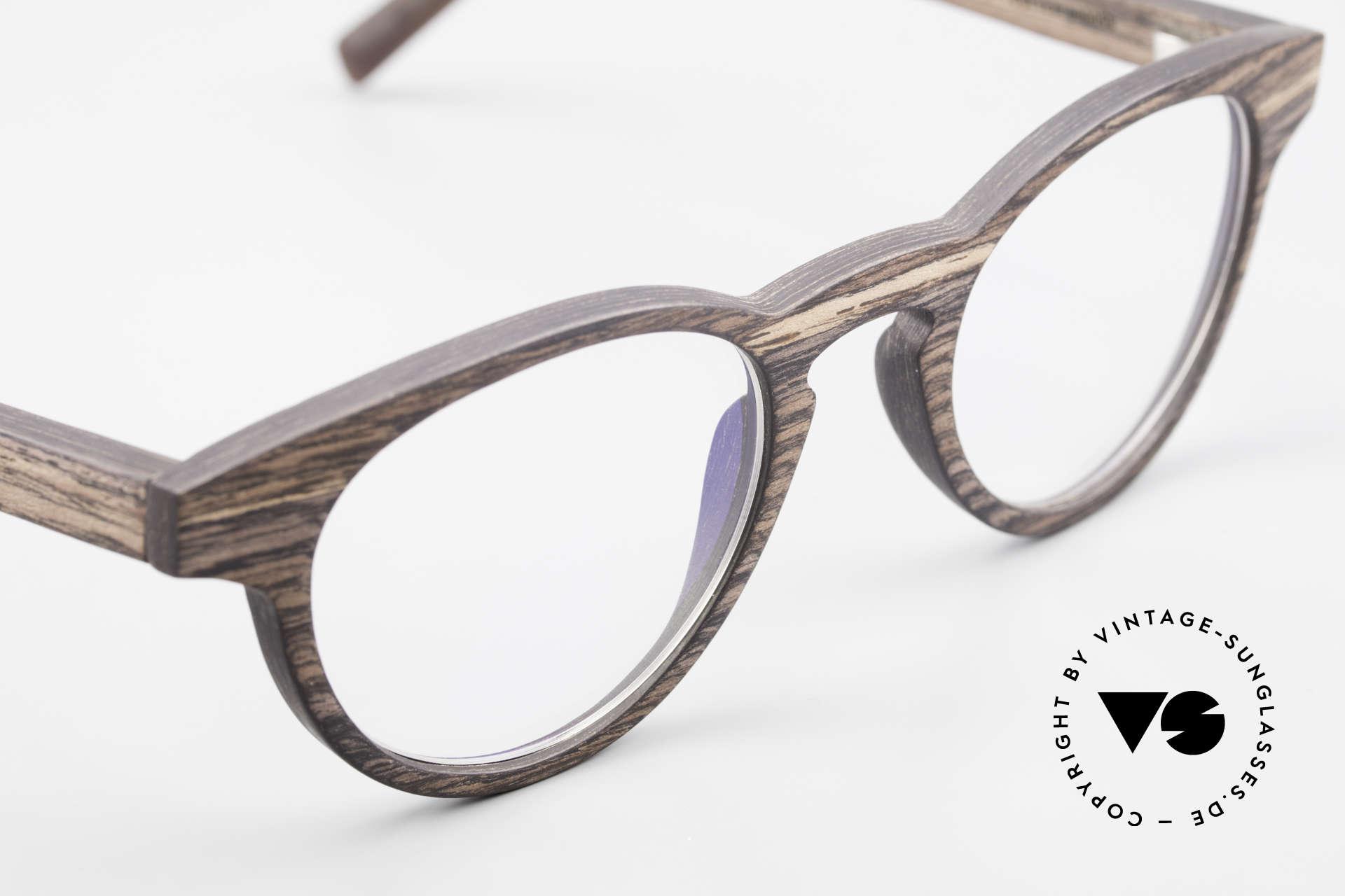 Kerbholz Friedrich Panto Holzbrille Kingwood, ungetragenes Exemplar, mit flexiblen Federscharnieren, Passend für Herren und Damen