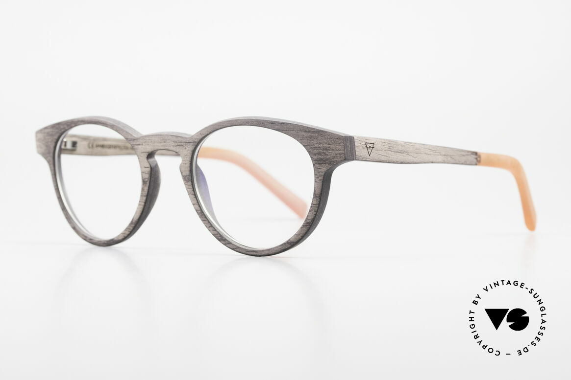 Kerbholz Friedrich Holzbrille Panto Blackwood, die Grundfarbe variiert von schwarz zu braun-schwarz, Passend für Herren und Damen