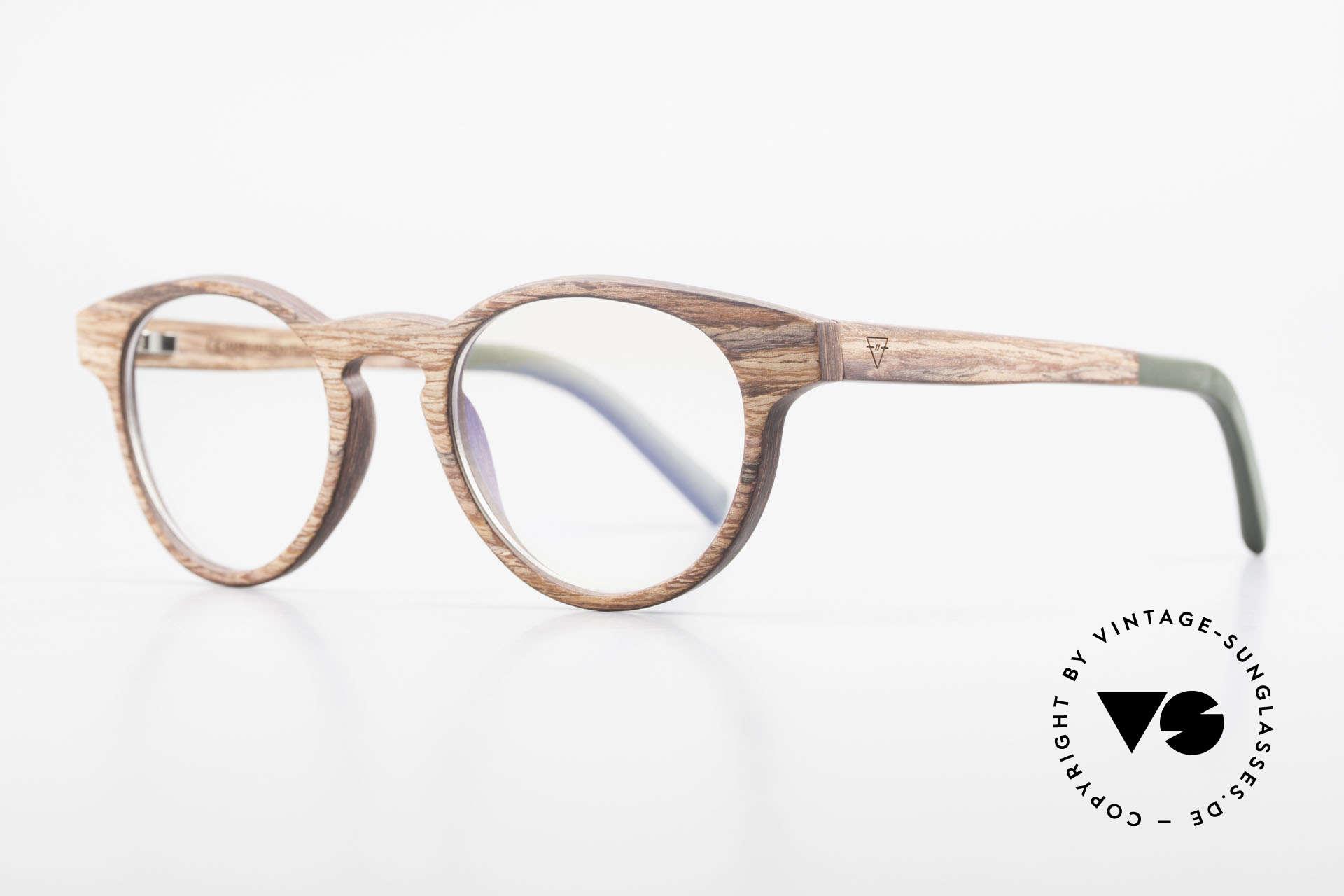 Kerbholz Friedrich Holzbrille Panto Rosewood, das Holz ist stark dunkelbraun, sehr hart und robust, Passend für Herren und Damen