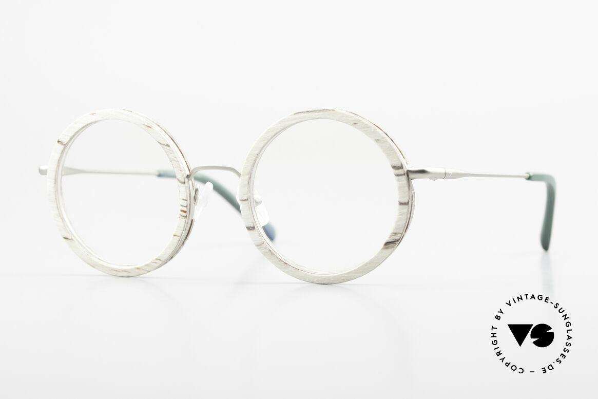 Kerbholz Rudolph Runde Holzbrille Weisse Birke, ein absolutes Unikat (zudem in Handarbeit gefertigt), Passend für Herren und Damen