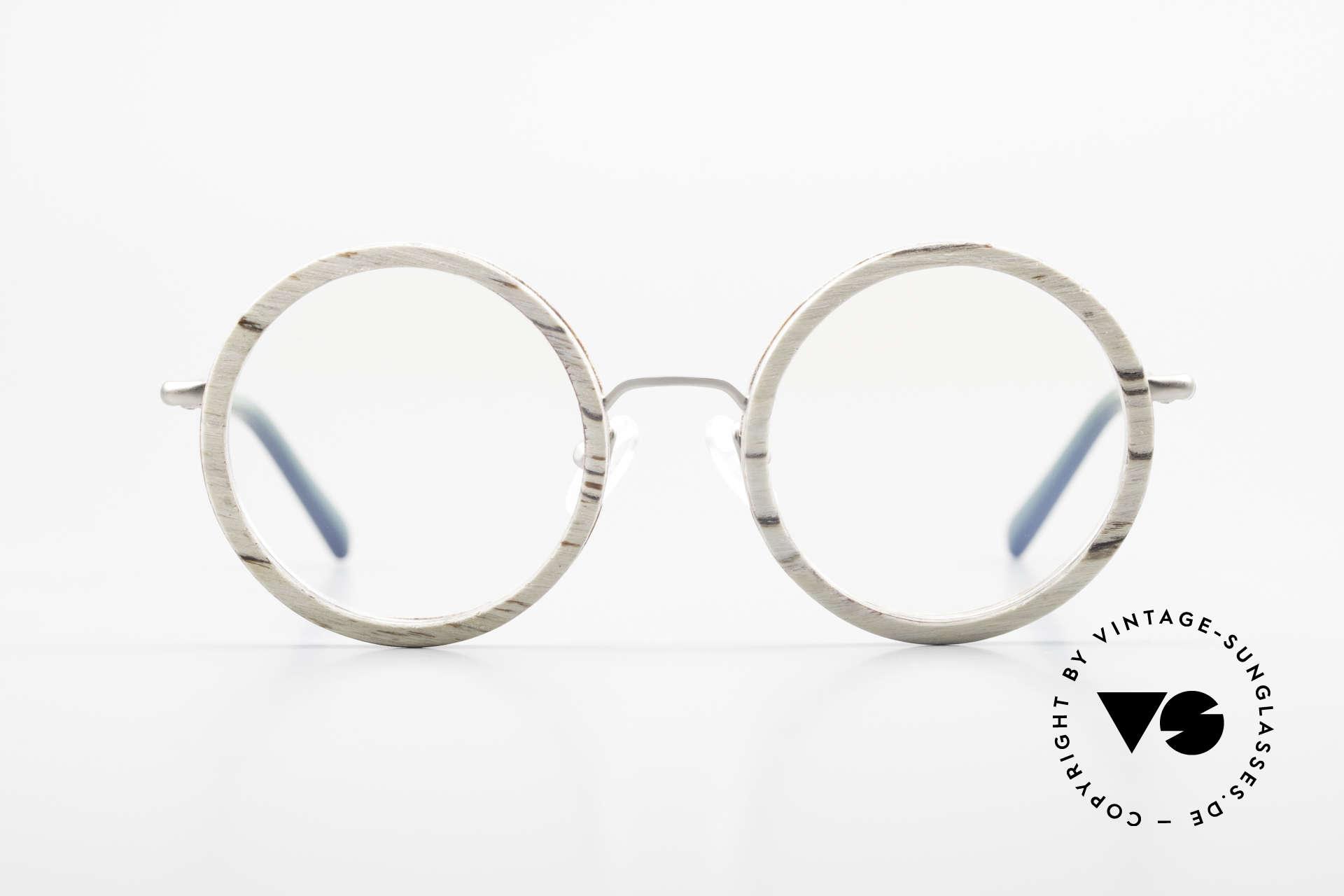 Kerbholz Rudolph Runde Holzbrille Weisse Birke, jedes Holz-Modell ist individuell (dank der Maserung), Passend für Herren und Damen