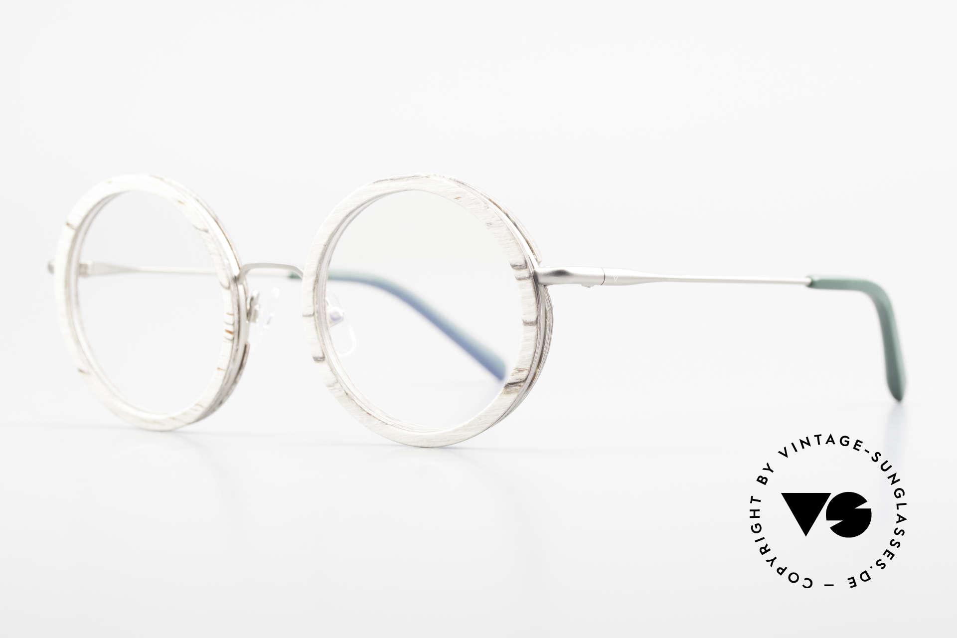 Kerbholz Rudolph Runde Holzbrille Weisse Birke, tolle Kombination von Materialien, Farben und Form, Passend für Herren und Damen