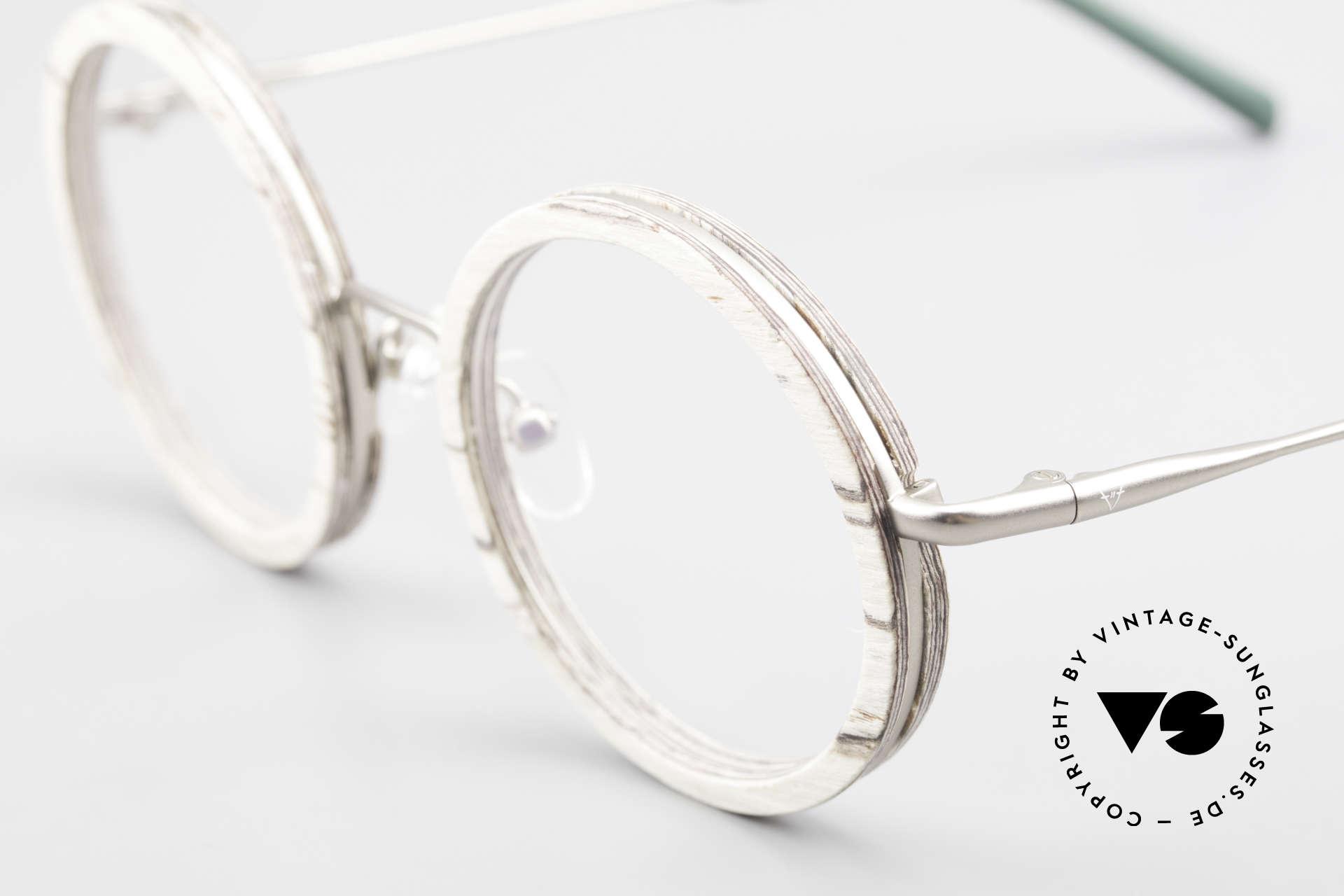Kerbholz Rudolph Runde Holzbrille Weisse Birke, ungetragenes Exemplar; kann beliebig verglast werden, Passend für Herren und Damen