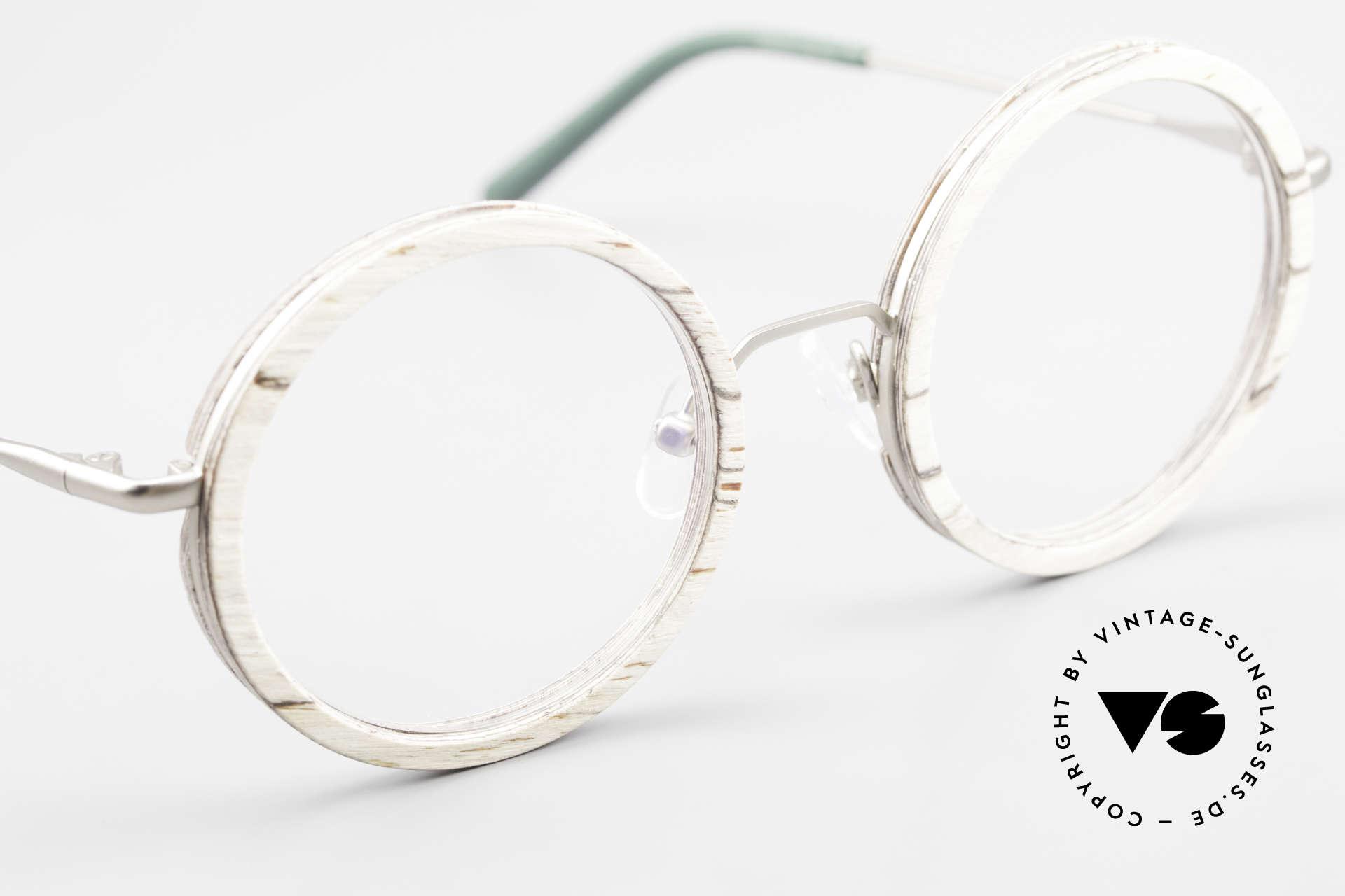 Kerbholz Rudolph Runde Holzbrille Weisse Birke, Größe: medium, Passend für Herren und Damen