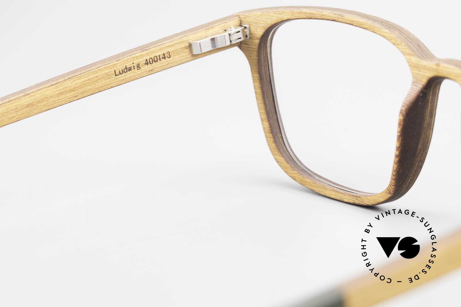 Kerbholz Ludwig Holzbrille Herren Erlenholz, ungetragenes Exemplar, mit flexiblen Federscharnieren, Passend für Herren