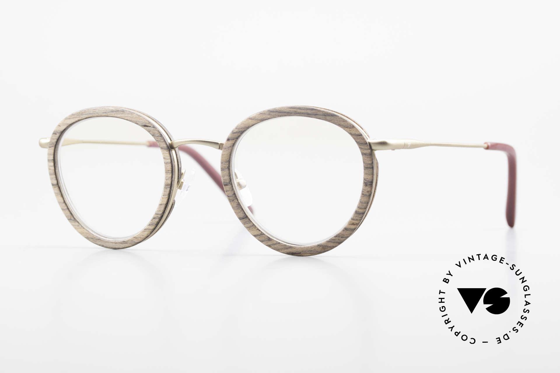 Kerbholz Otto Runde Panto Holzbrille Teak, runde Panto-Holzbrille von Kerbholz, made in Germany, Passend für Herren und Damen