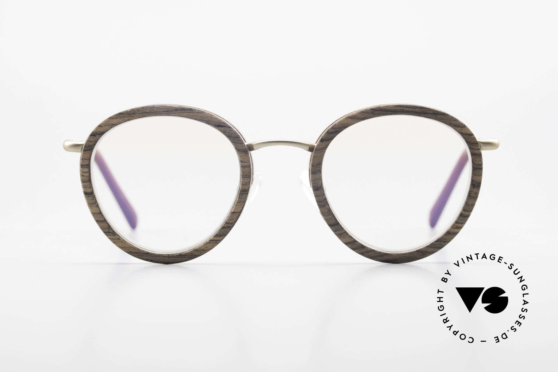 Kerbholz Otto Runde Panto Holzbrille Teak, aus Teakholz = wertvolles Haus des asiatischen Raums, Passend für Herren und Damen