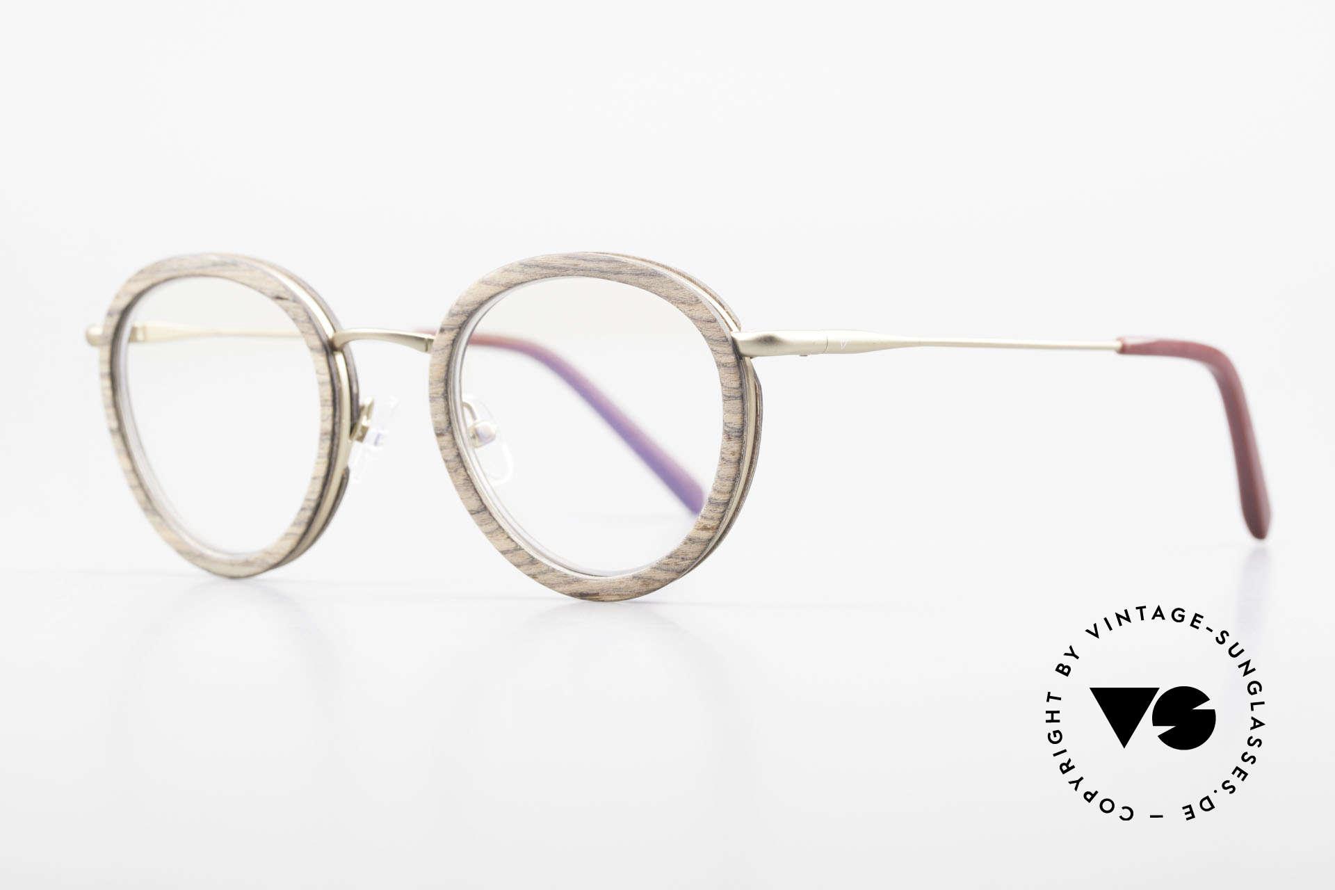 Kerbholz Otto Runde Panto Holzbrille Teak, Charakteristik: dunkel-olivbraune bis schwarze Streifen, Passend für Herren und Damen