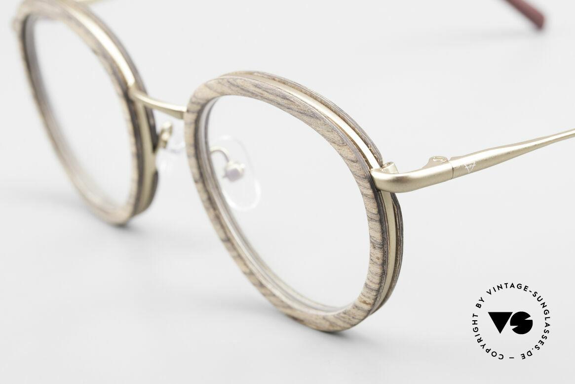 Kerbholz Otto Runde Panto Holzbrille Teak, tolle Kombination von Materialien, Farben und Form, Passend für Herren und Damen