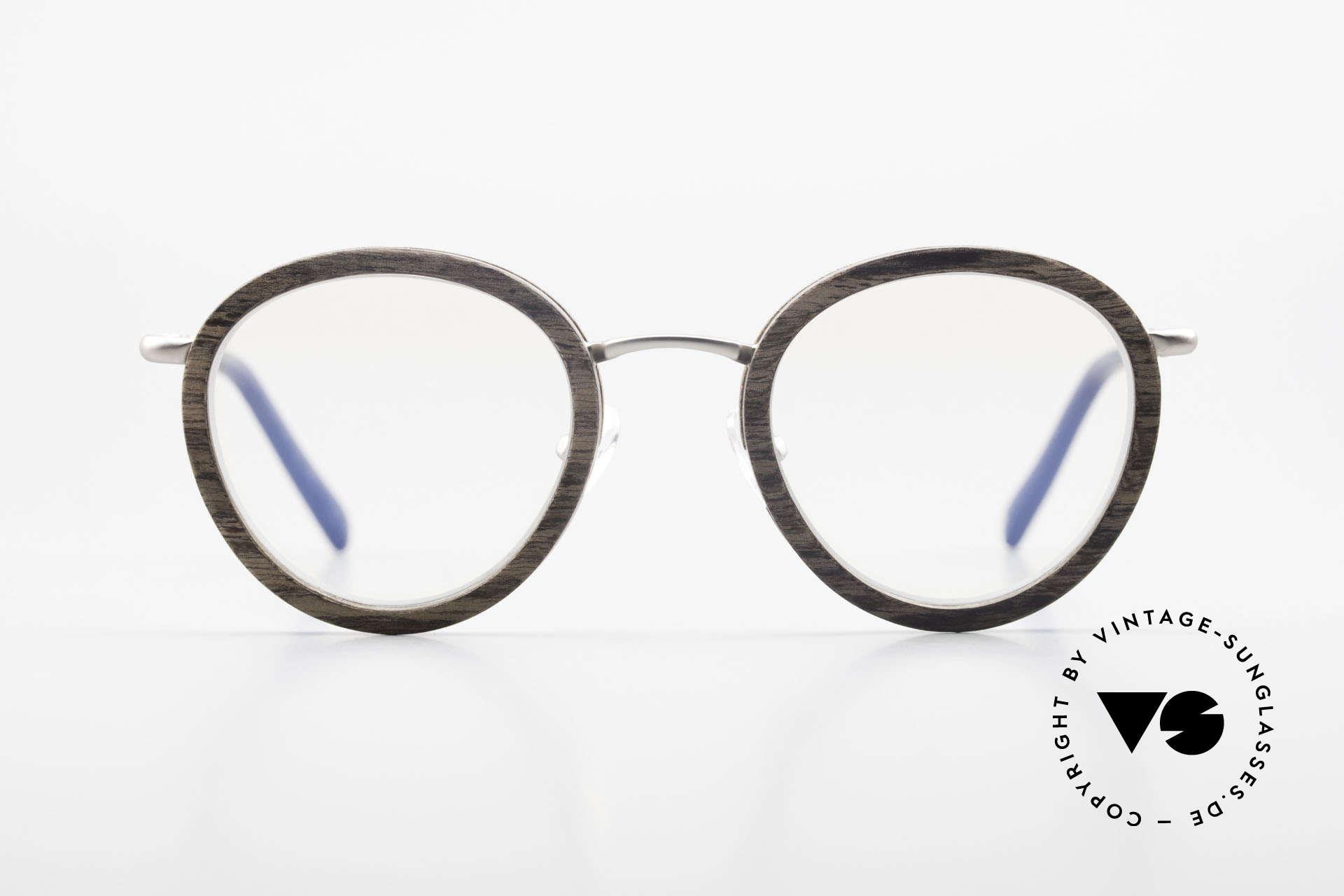"""Kerbholz Otto Panto Holzbrille Rund Walnuss, aus """"Walnut"""" = Walnuss-Holz (ein begehrtes Edelholz), Passend für Herren und Damen"""