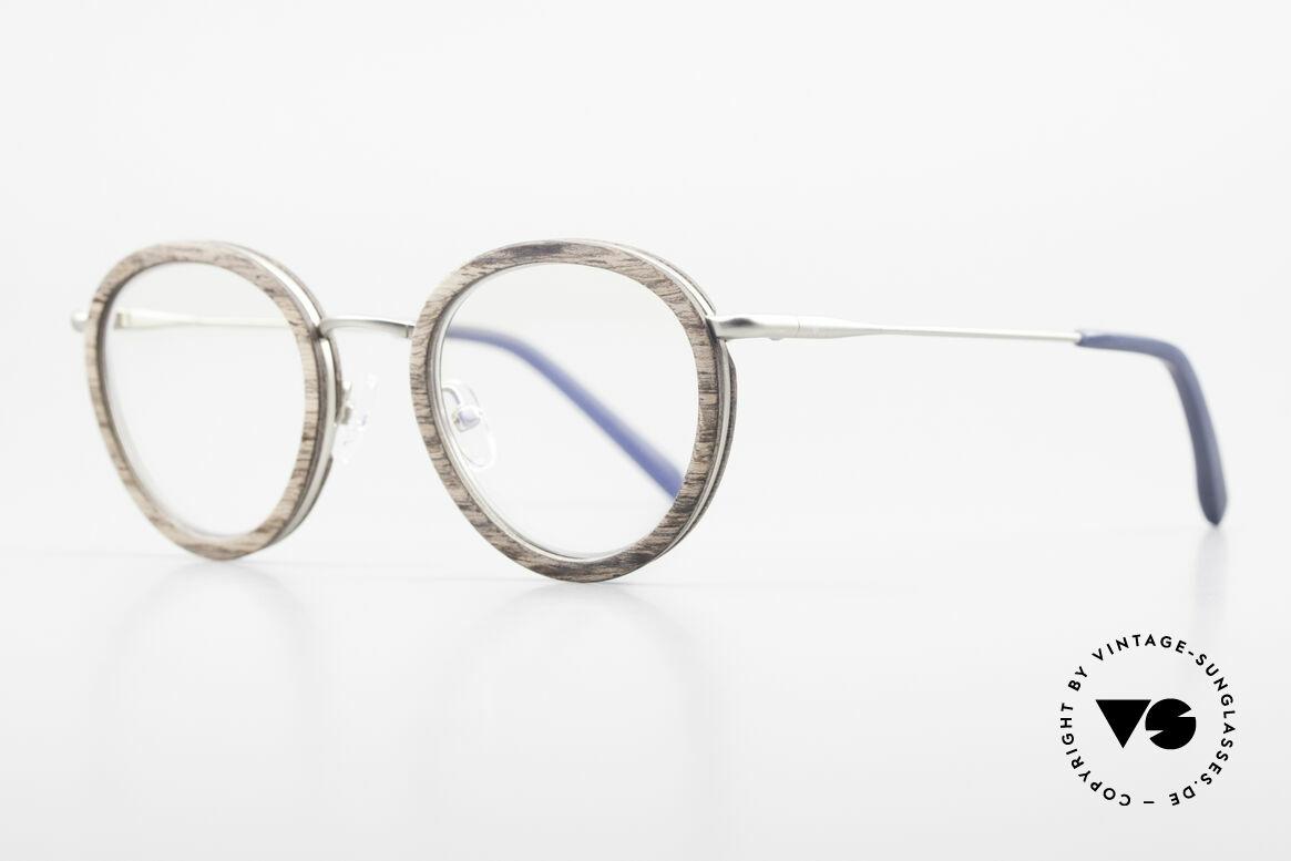 Kerbholz Otto Panto Holzbrille Rund Walnuss, ein absolutes Unikat (zudem in Handarbeit gefertigt), Passend für Herren und Damen