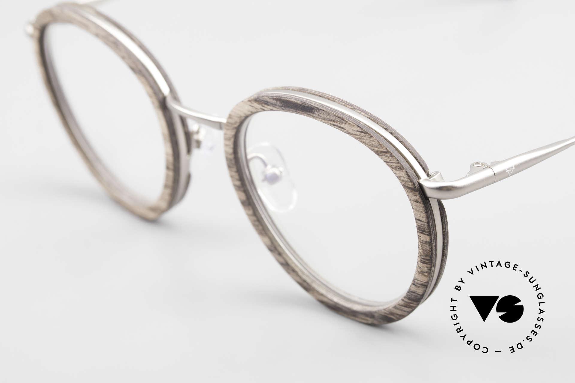 Kerbholz Otto Panto Holzbrille Rund Walnuss, tolle Kombination von Materialien, Farben und Form, Passend für Herren und Damen