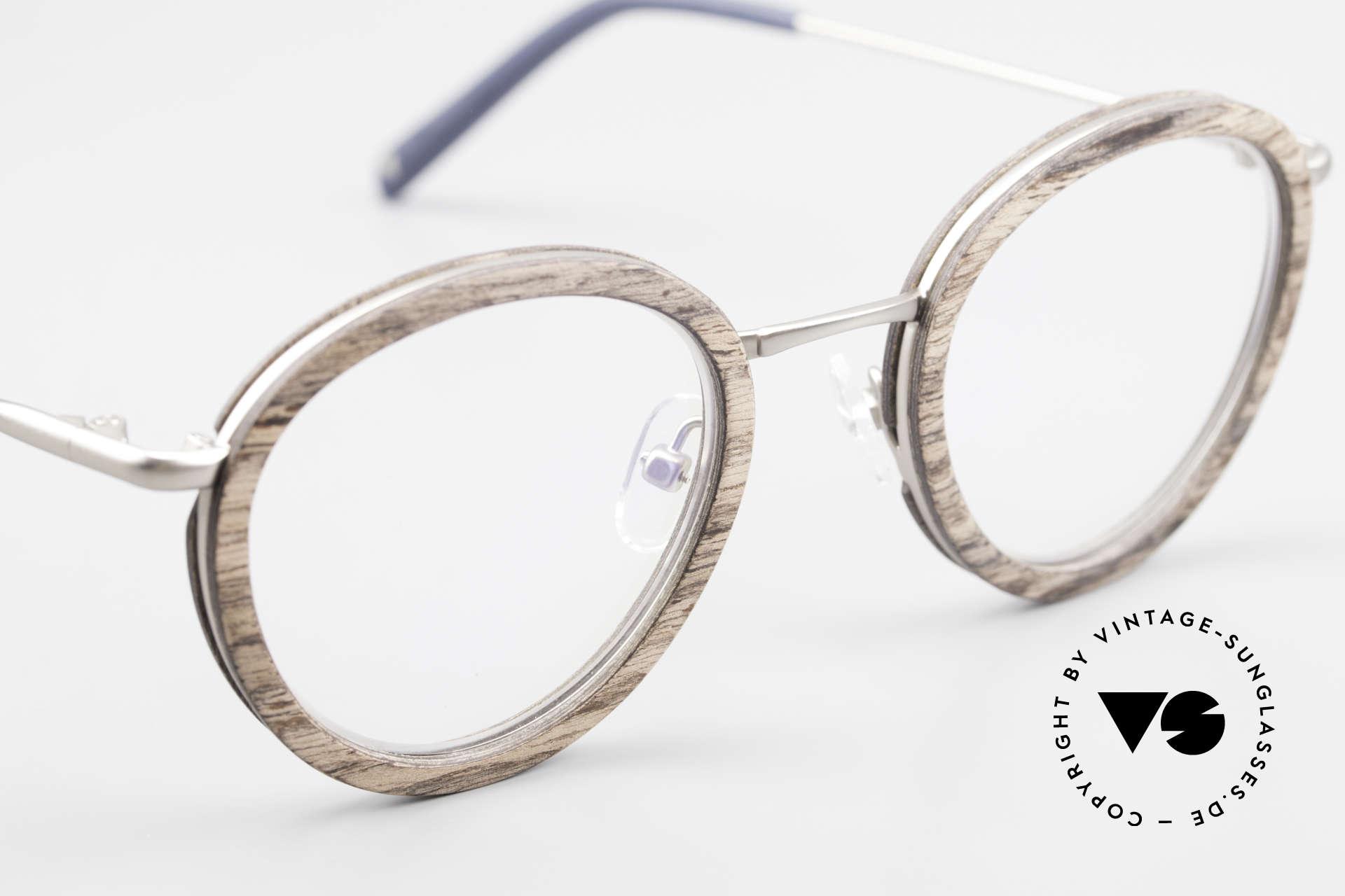 Kerbholz Otto Panto Holzbrille Rund Walnuss, ungetragenes Exemplar; kann beliebig verglast werden, Passend für Herren und Damen
