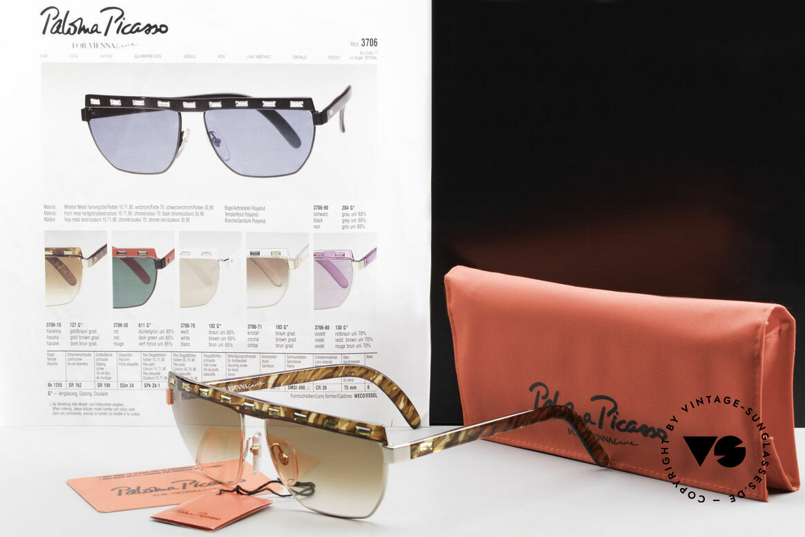 Paloma Picasso 3706 Damen Sonnenbrille Strass 90s, Größe: medium, Passend für Damen