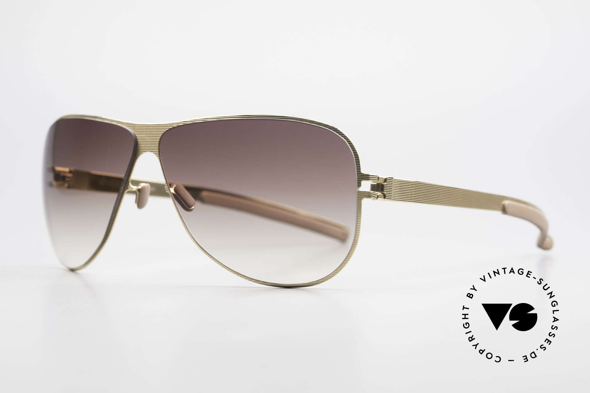 Mykita Ava Damen Designer Aviator Brille, Collection No.1 Sun Ava Goldline, brown-gradient, 62/09, Passend für Damen