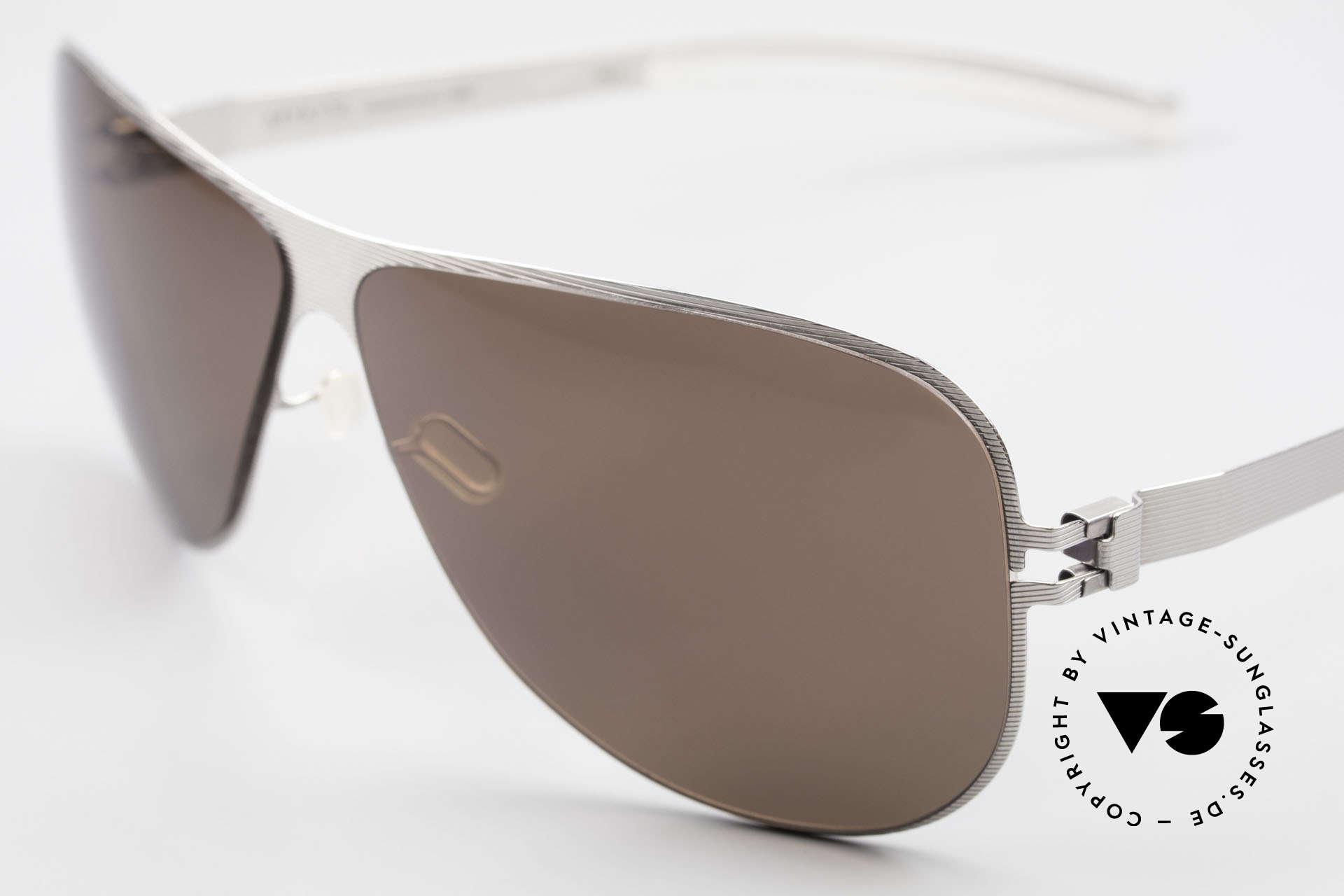 Mykita Ava Damen Aviator Brille Polarized, innovativ flexible Metallfassung: eine Größe passt allen, Passend für Damen