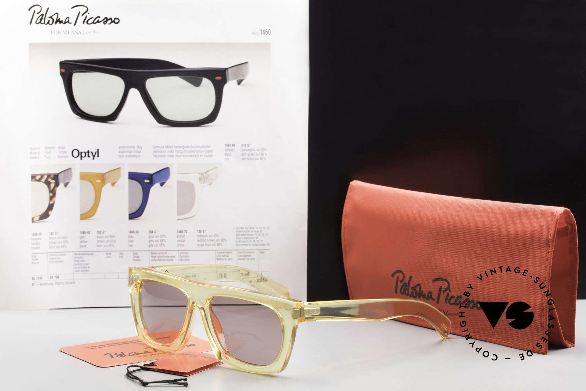 Paloma Picasso 1460 90er Original No Retrobrille, Sonnengläser (100% UV) und mit original P.P. Etui, Passend für Herren und Damen