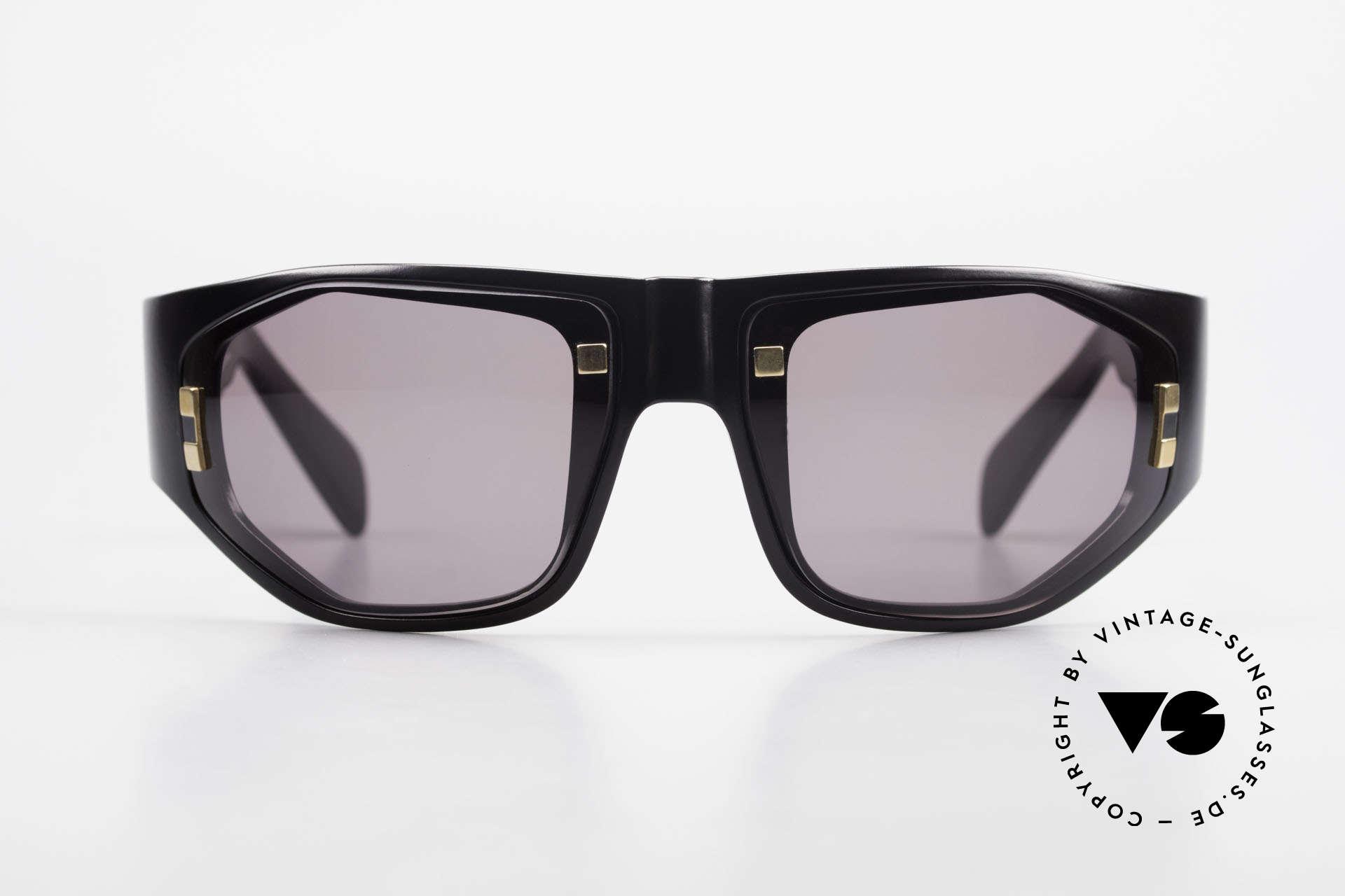 Paloma Picasso 3701 90er Damen Wrap Sonnenbrille, spektakuläre Form mit goldenen Applikationen, Passend für Damen