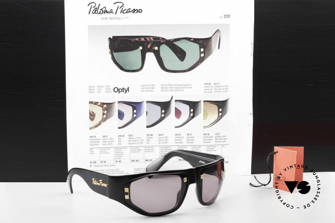 Paloma Picasso 3701 90er Damen Wrap Sonnenbrille, Größe: medium, Passend für Damen