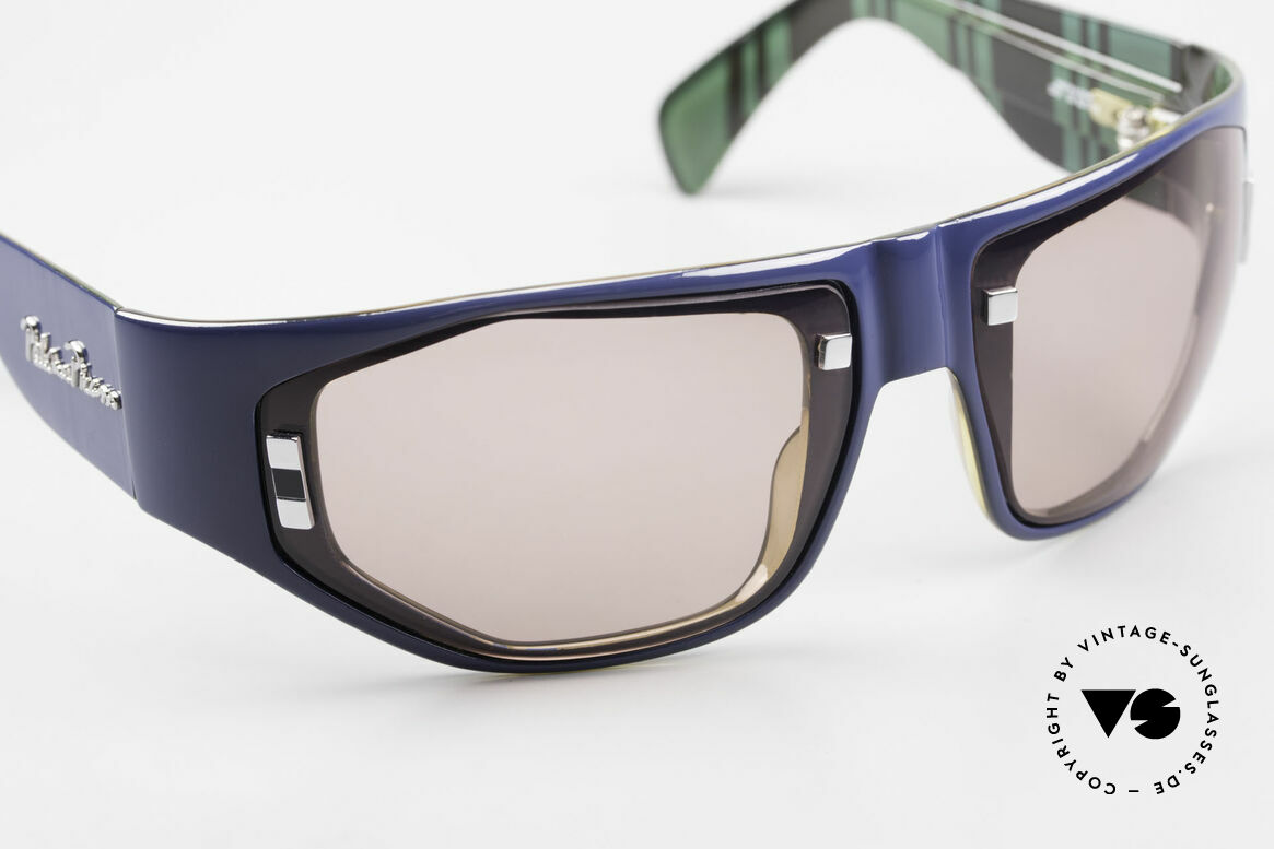 Paloma Picasso 3701 Wrap Around Sonnenbrille 90er, Wrap Around Design: Rahmen umhüllt das Gesicht, Passend für Damen