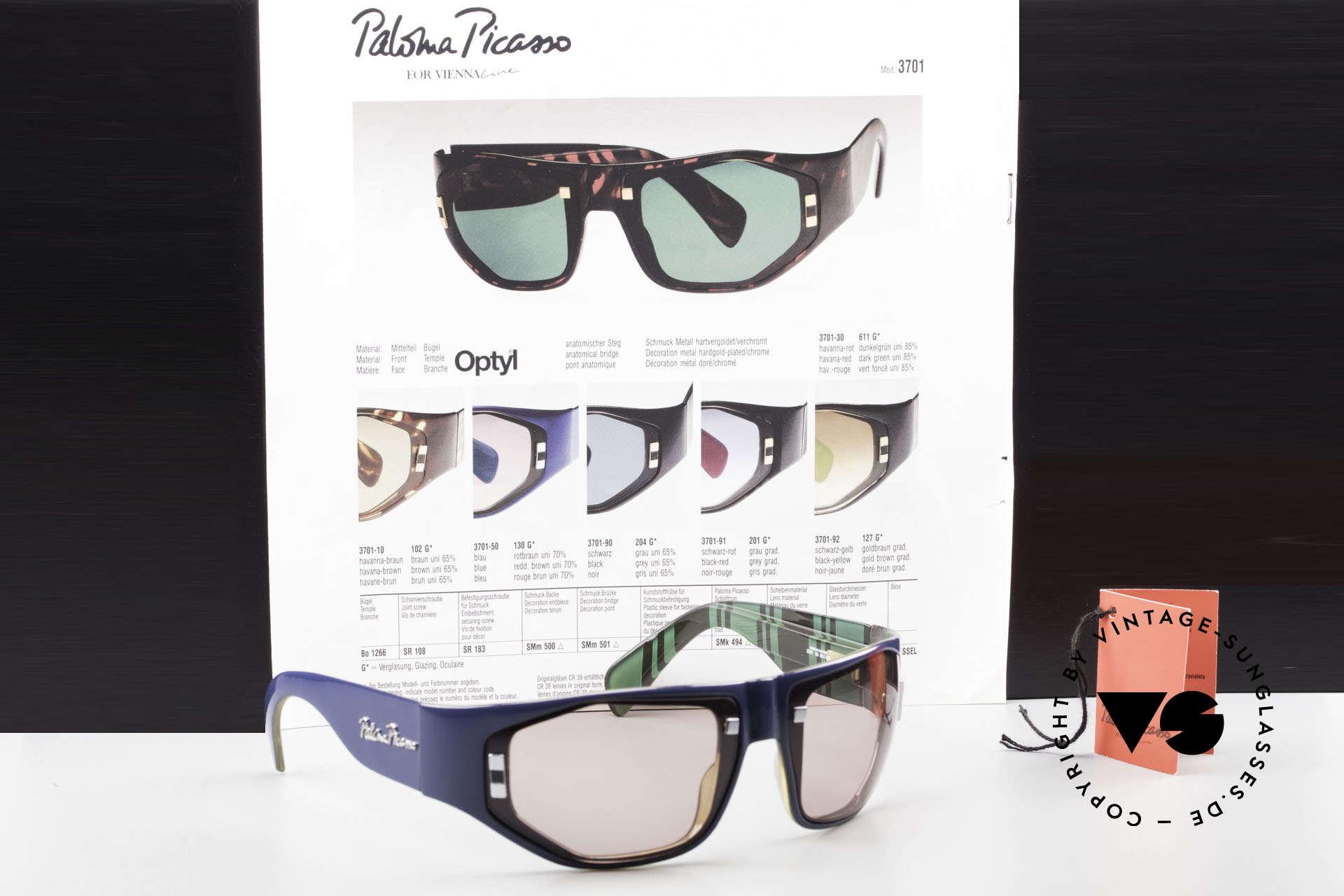 Paloma Picasso 3701 Wrap Around Sonnenbrille 90er, Größe: medium, Passend für Damen