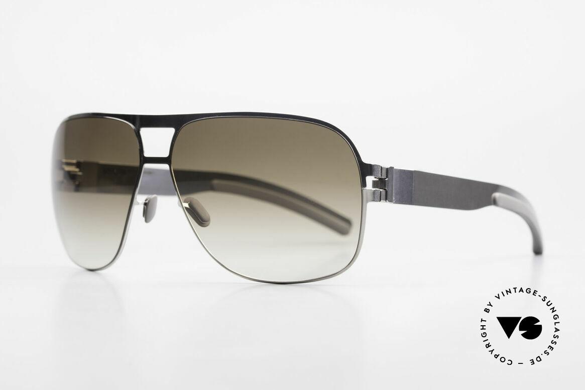 Mykita Clifford 2000er Vintage Aviator Brille, Mod. No.1 Sun Clifford Shinysilver, olive-gradient, 62/12, Passend für Herren
