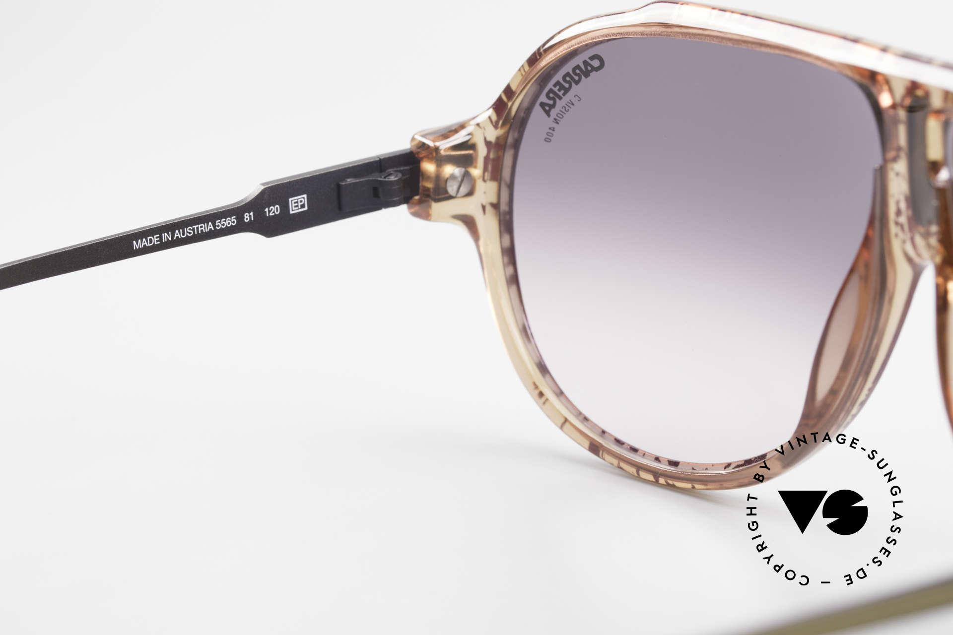 Carrera 5565 Alte Vintage 80er Sonnenbrille, einzigartiges Rahmenmuster: AUBERGINE gesplittert, Passend für Herren und Damen