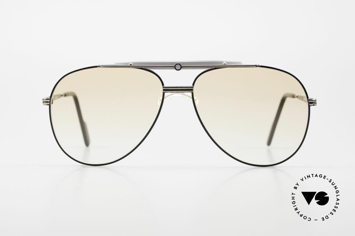 Alpina PCF 250 Sportliche 90er Aviator Brille, schwarz-goldene Fassung in Größe 58-14, 140, Passend für Herren
