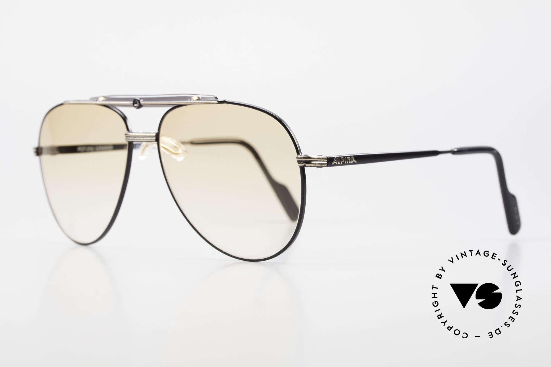 Alpina PCF 250 Sportliche 90er Aviator Brille, Gläser in orange-Verlauf (auch abends tragbar), Passend für Herren